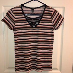Rue 21 Stripped V-Neck Shirt
